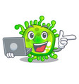with laptop character microbe bacterium on the vector image