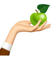 womans hand with a green apple isolated on white vector image vector image