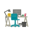 Workplace thin line vector image