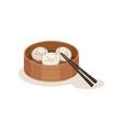 xiao long bao or steamed dumplings in wooden vector image