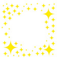 yellow star glitter icons flat asterisks pattern vector image