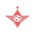 Football ball with wings logo soccer mockup emblem vector image