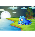 A blue monster writing a letter at the riverbank vector image vector image