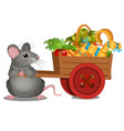 animated gray mouse carries a wooden cart with a vector image