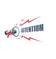 attention sign with retro megaphone vector image