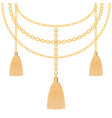background with golden metallic necklace tassels vector image vector image