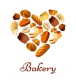 Bakery bread and pastry heart poster vector image vector image