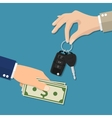 Car salesman giving key to new owner vector image vector image