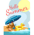 cartoon greetings card with a beach vector image vector image