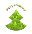 christmas tree maded from puzzles vector image vector image