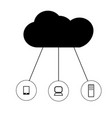 cloud network on white background cloud network vector image vector image