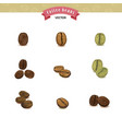 collection of coffee beans isolated on white vector image
