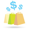 color paper shopping bags and money icon isolated vector image