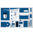 Corporate identity and stationary in blue theme vector image
