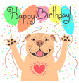 cute happy birthday card with funny puppy pit bull vector image
