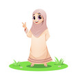 cute muslim girl standing in grass and pointin vector image