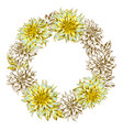 decorative wreath with fluffy yellow dahlias vector image