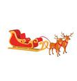 design of santa sleigh with reindeer vector image vector image