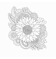 Doodle pattern with black and white sunflower vector image