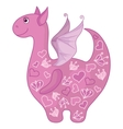 dragon with valentine hearts vector image vector image