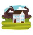 field landscape scene icon vector image