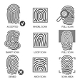 Fingerprint identification icons vector image vector image