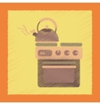 flat shading style icon coffee kettle on stove vector image vector image