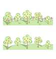 Fruit trees in horizontal seamless border vector image vector image