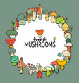 funny mushrooms frame sketch for your design vector image vector image