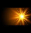 glowing light effect rays on black background vector image vector image