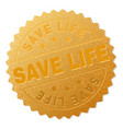 gold save life medal stamp vector image vector image