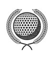 golf ball with laurel wreath design element vector image