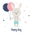 greeting card with rabbit vector image