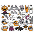 halloween set of patches in cartoon comic style vector image