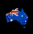 hanging australia flag in form map vector image vector image