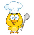 happy chef yellow chick character holding a spoon vector image vector image