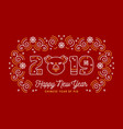 happy chinese new year 2019 card with pig icon vector image vector image