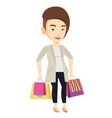 Happy woman with shopping bags vector image vector image