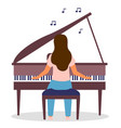 isolated woman playing piano cartoon vector image vector image