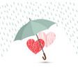 love heart sign over rain under umbrella vector image vector image