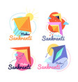 makar sankranti festival promotion label indian vector image