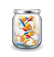 medicine pills in glass jar isolated on white vector image