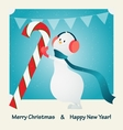 merry christmas happy snowman and candy vector image vector image