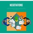 Negotiations concept Top view workspace vector image vector image