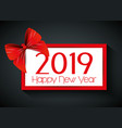 new 2019 year with ribbon bow vector image vector image