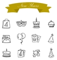 new year icons collection vector image vector image