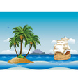 Old ship in the sea vector image vector image