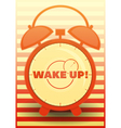 Orange Alarm Clock with text Wake up vector image vector image