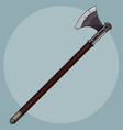 painted simple viking iron ax with a long wooden vector image