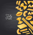pasta types on black chalkboard background vector image